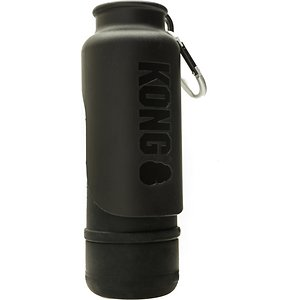 KONG H2O K9 UNIT Insulated Stainless Steel Dog Water Bottle & Travel Bowl, Shadow Black, 25-oz