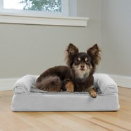 FurHaven Plush & Suede Orthopedic Sofa Dog & Cat Bed, Gray, Small
