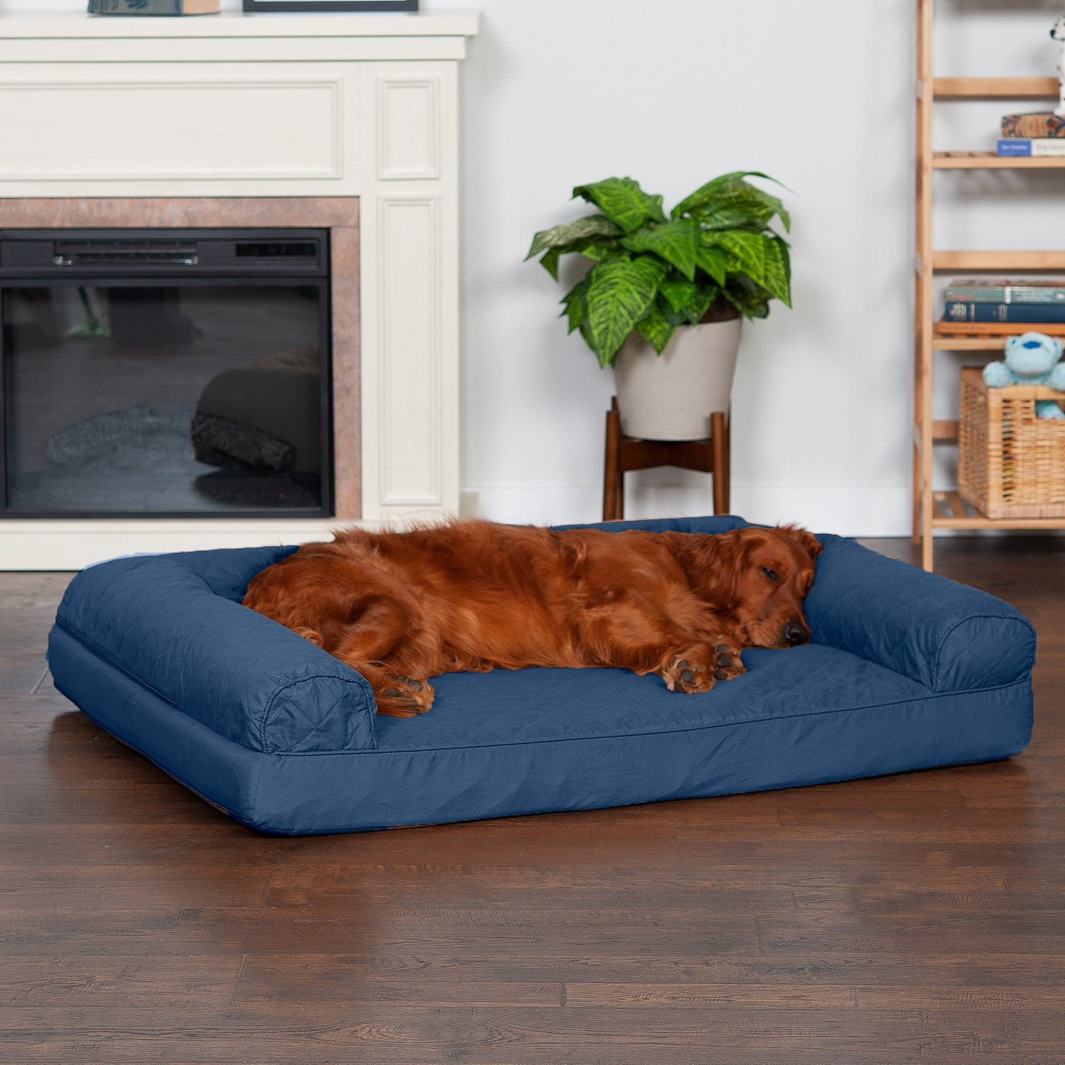 FurHaven Quilted Orthopedic Sofa Dog Cat Bed Jumbo Navy