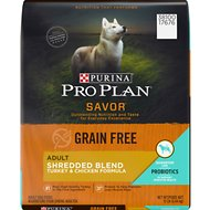 Purina Pro Plan Savor Adult Shredded Blend Turkey & Chicken Formula Grain-Free Dog Food, 12-lb bag