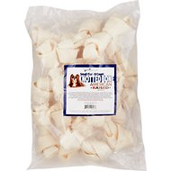 Pure & Simple Pet Flat Knotted Rawhide Bone Dog Treat, Small, 15 count