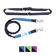 Paw Lifestyles Bungee Hands Free Running Dog Leash, Black/Blue