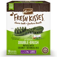 Merrick Fresh Kisses Double-Brush Coconut Oil & Botanicals Large Grain-Free Dental Dog Treats, 16 count