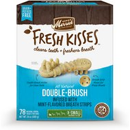 Merrick Fresh Kisses Double-Brush Mint Breath Strips Extra Small Grain-Free Dental Dog Treats, 78 count