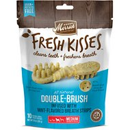 Merrick Fresh Kisses Double-Brush Mint Breath Strip Infused Medium Dental Dog Treats, 10 count