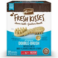 Merrick Fresh Kisses Double-Brush Mint Breath Strips Medium Grain-Free Dental Dog Treats, 22 count