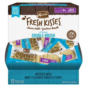 Merrick Fresh Kisses Double-Brush Mint Breath Strip Infused Large Dental Dog Treats, 12 count; Get your sidekick's smile sparkling with Merrick Fresh Kisses Double-Brush Dental Dog Treats With Mint Breath Strips. These dental treats for large dogs are designed to deliver cleaner teeth and truly fresh breath. They feature a soft but tough texture to remove plaque and tartar from teeth while lasting through a whole chewing session. Each of these doggie dental treats is infused with 10 of the world's best ingredients including all-natural spearmint. They are crafted into a double-brush design for deep cleaning without any grains, gluten or potatoes.