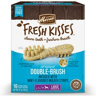 Merrick Fresh Kisses Double-Brush Mint Breath Strips Large Grain-Free Dental Dog Treats, 16 count