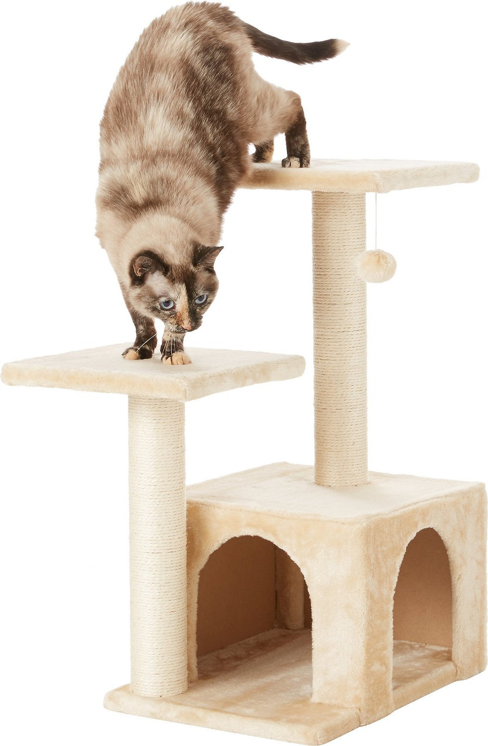 Frisco 28-in Faux Fur Cat Tree & Condo with Free Shipping From Chewy