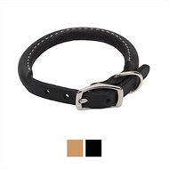 Circle T Oak Tanned Leather Round Dog Collar, 12-inch, Black
