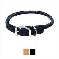Circle T Oak Tanned Leather Round Dog Collar, 15.75 - 18 in, Black