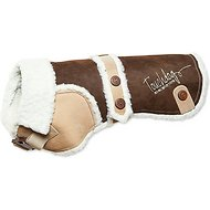 Touchdog Sherpa Designer Dog Coat, Dark Choco Brown, Large