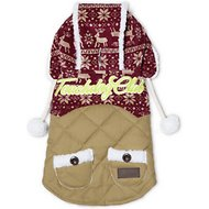 Touchdog Snowadayz Hooded Dog Sweater, Red/Beige, Small