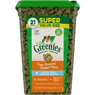 Greenies Feline Oven Roasted Chicken Flavor Adult Dental Cat Treats, 21-oz jar