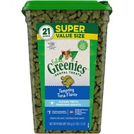 Greenies Feline Tempting Tuna Flavor Adult Dental Cat Treats, 21-oz jar