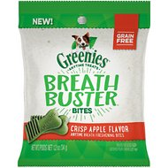 Greenies Breath Buster Bites Crisp Apple Flavor Fresh Breath Grain-Free Dental Dog Treats, 1.2-oz bag