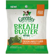 Greenies Breath Buster Bites Chicken & Parsley Flavor Grain-Free Dental Dog Treats, 1.2-oz bag