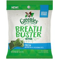 Greenies Breath Buster Bites Fresh Flavor Fresh Breath Grain-Free Dental Dog Treats, 1.2-oz bag