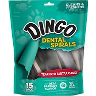 Dingo Dental Spirals for Fresh Breath Dog Treats, 15-count