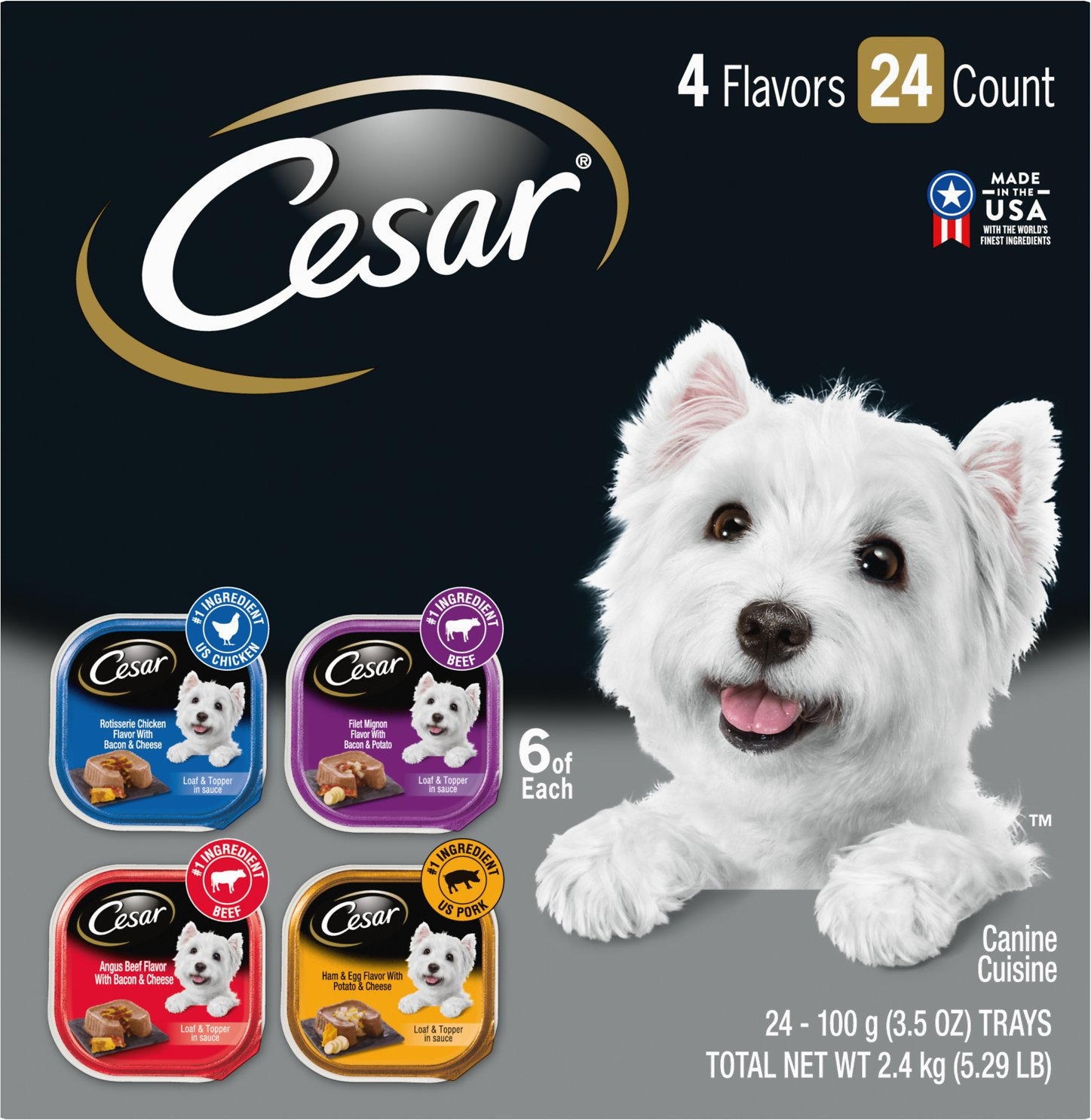 Cesar Loaf in Sauce Chicken, Filet Mignon, Beef, & Ham & Egg Flavors Variety Pack Dog Food Trays