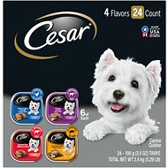 Cesar Loaf in Sauce Chicken, Filet Mignon, Beef, & Ham & Egg Flavors Variety Pack Dog Food Trays, 3.5-oz, case of 24