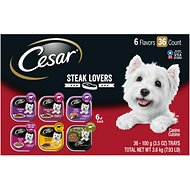 Cesar Steak Lovers Variety Pack Dog Food Trays, 3.5-oz, case of 36