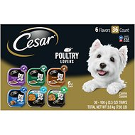 Cesar Poultry Lover's Variety Pack Wet Dog Food Dog Food Trays, 3.5-oz, case of 36