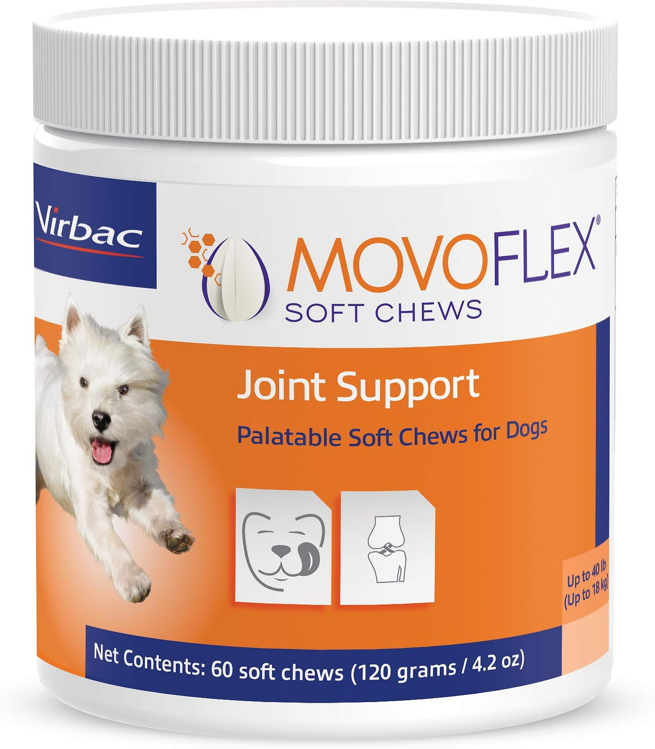 ac joint support. virbac movoflex joint support soft chew dog supplement, up to 40 lbs, 60 count ac e