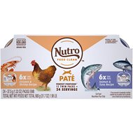 Nutro Perfect Portions Grain-Free Pate Multi-Pack Real Salmon & Tuna, Real Chicken & Shrimp Recipe Cat Food Trays, 2.65-oz, case of 12 twin-packs