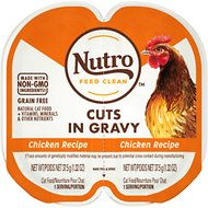 Nutro Perfect Portions Grain-Free Cuts in Gravy Real Chicken Recipe Cat Food Trays, 2.65-oz, case of 24 twin-packs