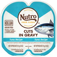 Nutro Perfect Portions Grain-Free Cuts in Gravy Real Tuna Recipe Cat Food Trays, 2.65-oz, case of 24 twin-packs