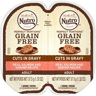 Nutro Perfect Portions Grain-Free Cuts in Gravy Real Salmon & Shrimp Recipe Cat Food Trays, 2.65-oz, case of 24 twin-packs