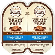 Nutro Perfect Portions Grain-Free Cuts in Gravy Real Catfish & Tuna Recipe Cat Food Trays, 2.65-oz, case of 24 twin-packs