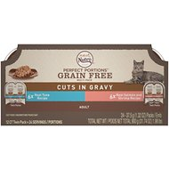 Nutro Perfect Portions Grain-Free Cuts in Gravy Multi-Pack Real Tuna, Real Salmon & Shrimp Recipe Cat Food Trays, 2.65-oz, case of 12 twin-packs
