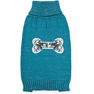 Zack & Zoey Elements Sequin Bone Dog & Cat Sweater, Blue, X-Small