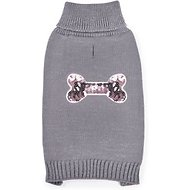 Zack & Zoey Elements Sequin Bone Dog & Cat Sweater, Silver, Small