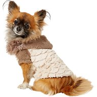 Zack & Zoey Elements Mixed Faux Fur Dog Jacket, Almond, X-Small