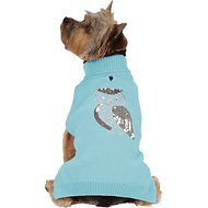 Zack & Zoey Elements Shimmer Owl Dog Sweater, Blue, Medium