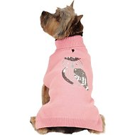 Zack & Zoey Elements Shimmer Owl Dog Sweater, Pink, Medium
