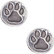 Pet Friends Antiqued Circle Paw Stud Earrings, Silver