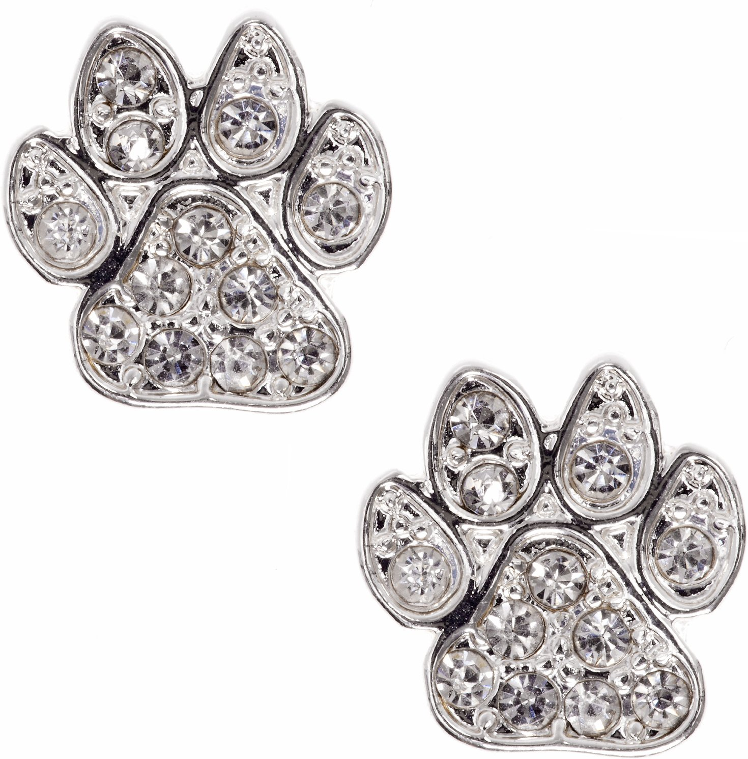 dog products vila shop earrings rosa rose print paw gold stud