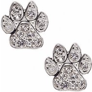 Pet Friends Pave Paw Stud Earrings, Silver