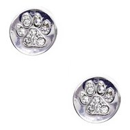 Pet Friends Pave Circle Paw Stud Earrings, Silver
