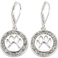 Pet Friends Pave Paw Cutout Drop Earrings, Silver