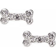 Pet Friends Pave Bone Stud Earrings, Silver