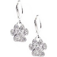 Pet Friends Pave Paw Drop Earrings, Silver