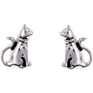 Pet Friends Cat Button Stud Earrings, Silver