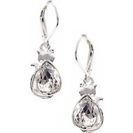 Pet Friends Cat Stone Drop Earrings, Silver