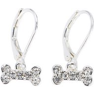 Pet Friends Pave Bone Drop Earrings, Silver
