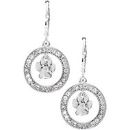 Pet Friends Pave Paw Orbital Drop Earring